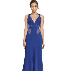 BCBGMaxAzria Blue Lace-Insert Gown